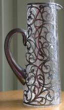 rare large antique Art Nouveau glass Sterling silver overlay pitcher