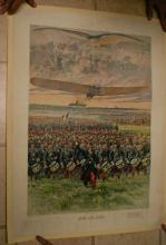 rare 1912 full color aviation airplane military poster