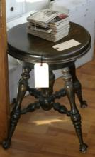 antique height adjustable piano stool