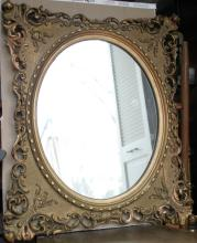 antique large gilt carved wooden wall mirror