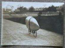unique antique photo of streamlined racing bicycle