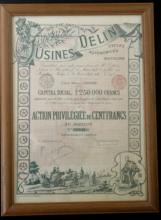 1898 French stock certificate or bond automobiles and motors