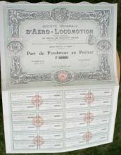 antique 1908 French bearer bond, stock or share paper
