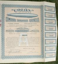 antique 1928 Spanish bearer bond, stock or share paper