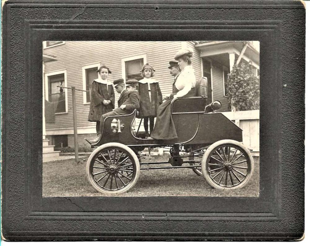 antique ca. 1905 automobile cabinet photograph