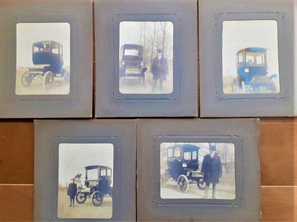 five antique electric automobile cabinet photographs