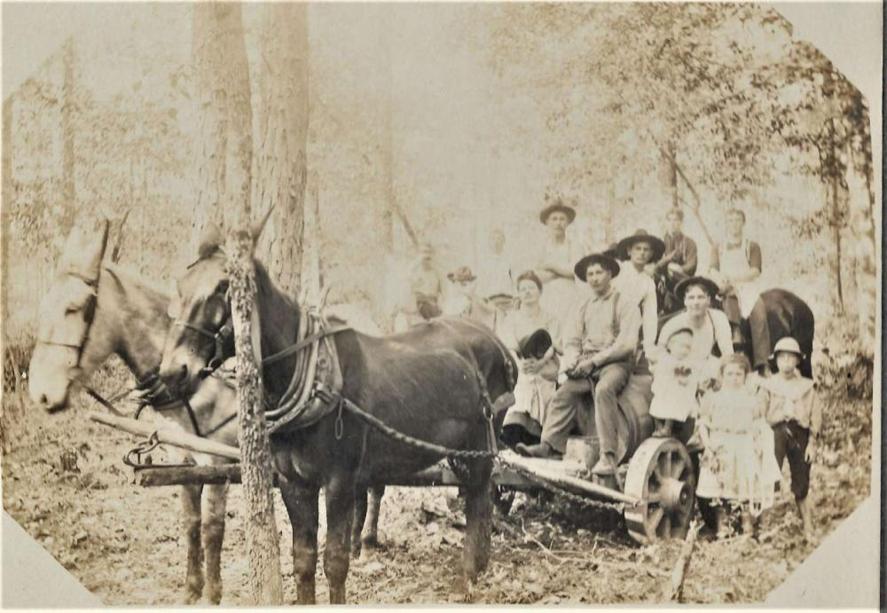 antique cabinet photograph of hillbilly family