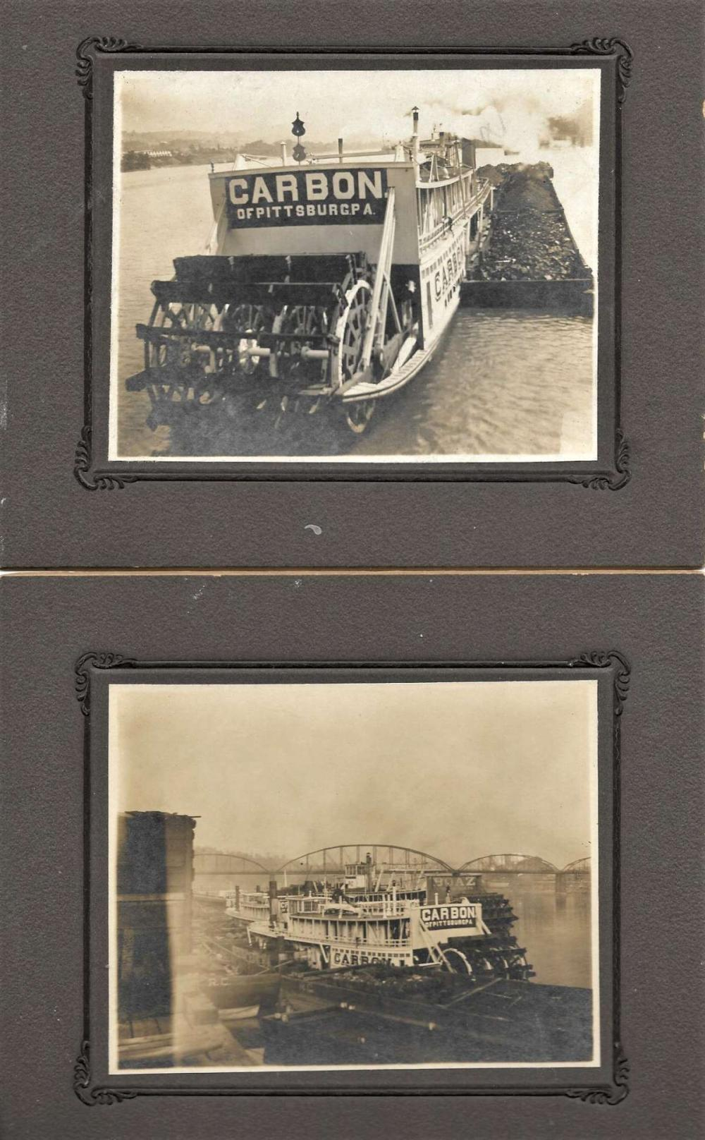 pair antique cabinet photographs of ship