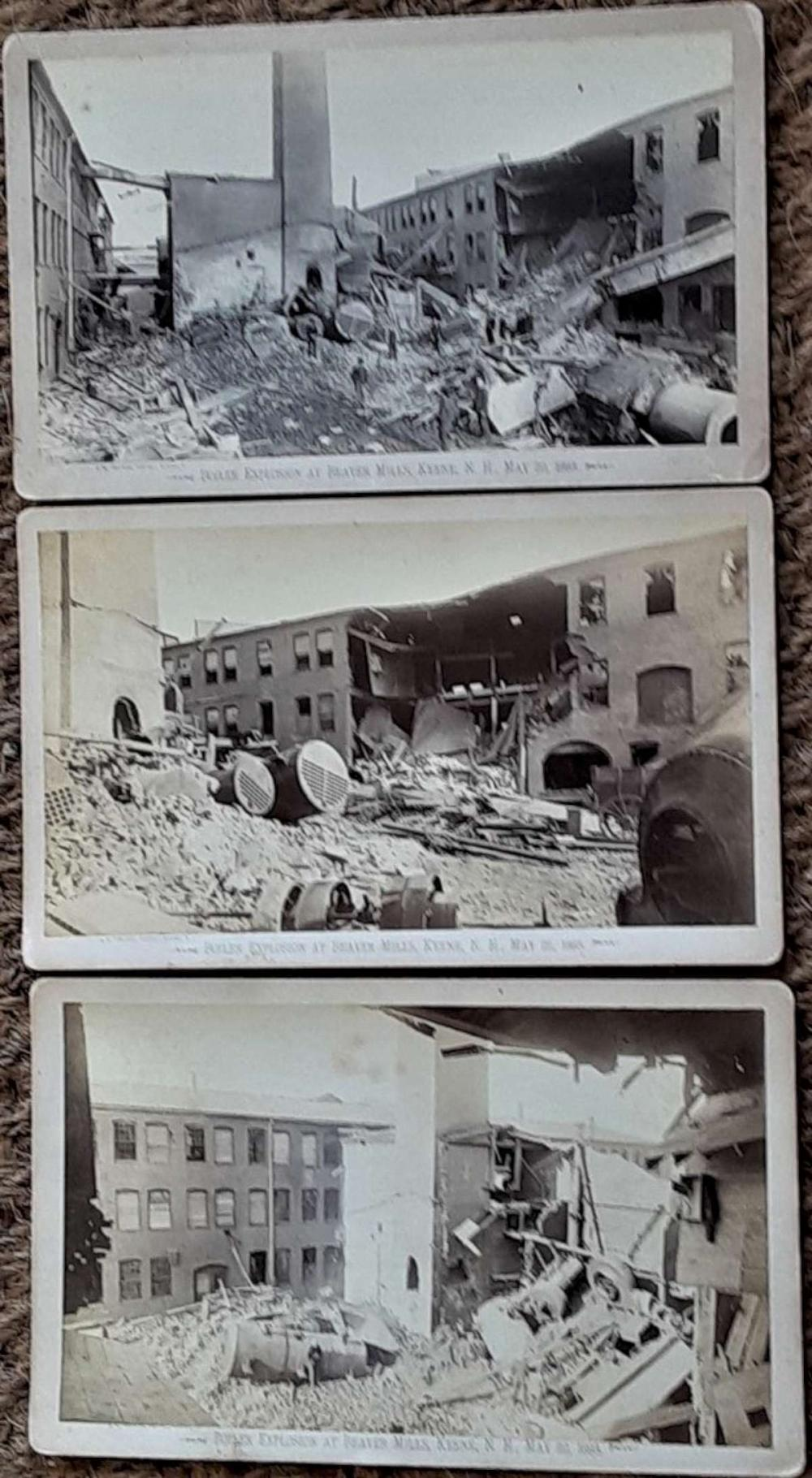 set of 3 cabinet photographs of factory explosion