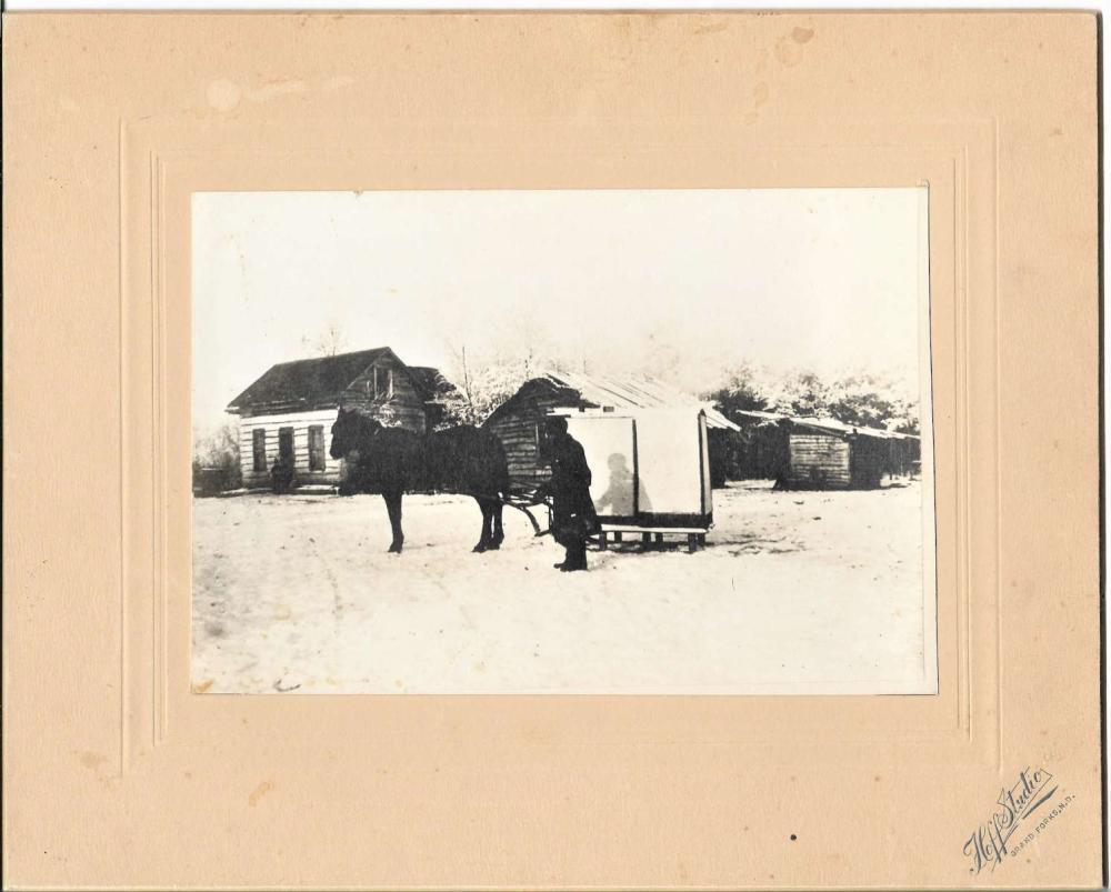 antique cabinet photograph horse sleigh transport