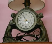 Art Deco period nude nymph lady clock lamp