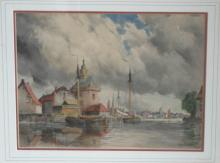 antique framed Dutch master watercolor painting