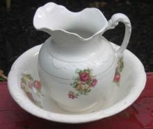 International Royal China antique pitcher and bowl set