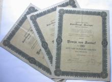 set lot of 3 rare 1920 stock certificates from an automobile garage