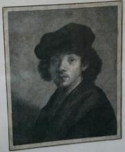antique framed etching attributed to Rembrandt