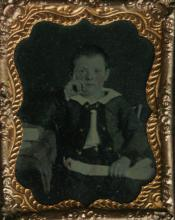 antique photograph in case of young boy