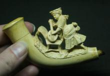 antique carved Meerschaum lady pipe