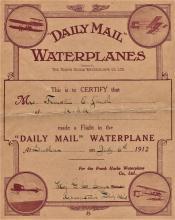 rare 1912 aviation certificate of flight