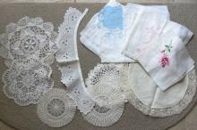 large group of 14 antique Dutch doilies