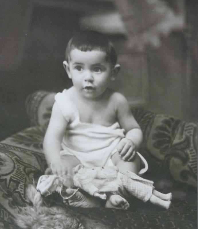 large antique framed baby toddler photograph