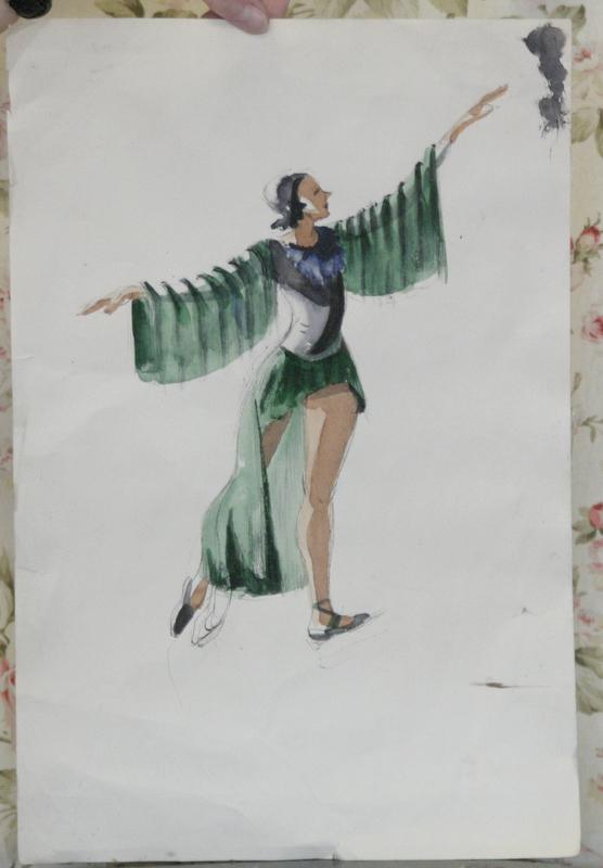 Large original art deco period watercolor fashion portrait for Art deco era clothing