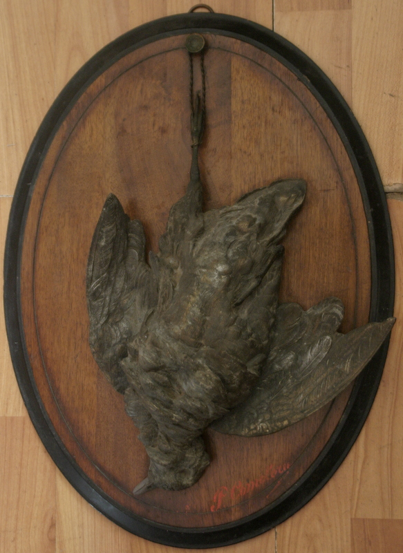 Antique French Bronze On Wooden Plaque Dead Game Bird