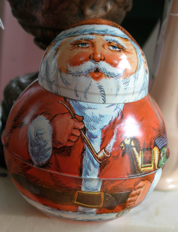 Vintage Roly Poly Santa Claus Cookie Tin