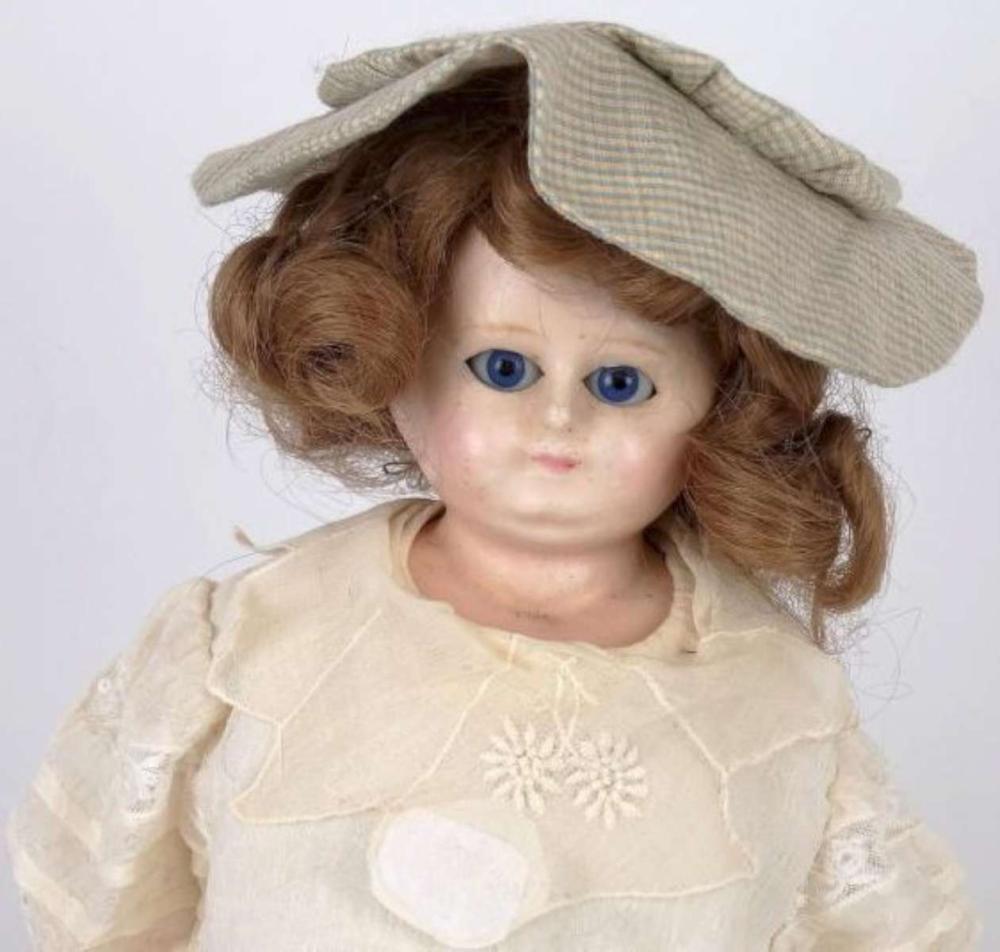 antique 1800s wax head girl doll