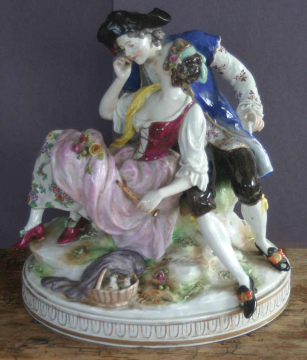 large antique German porcelain figural grouping Volkstedt