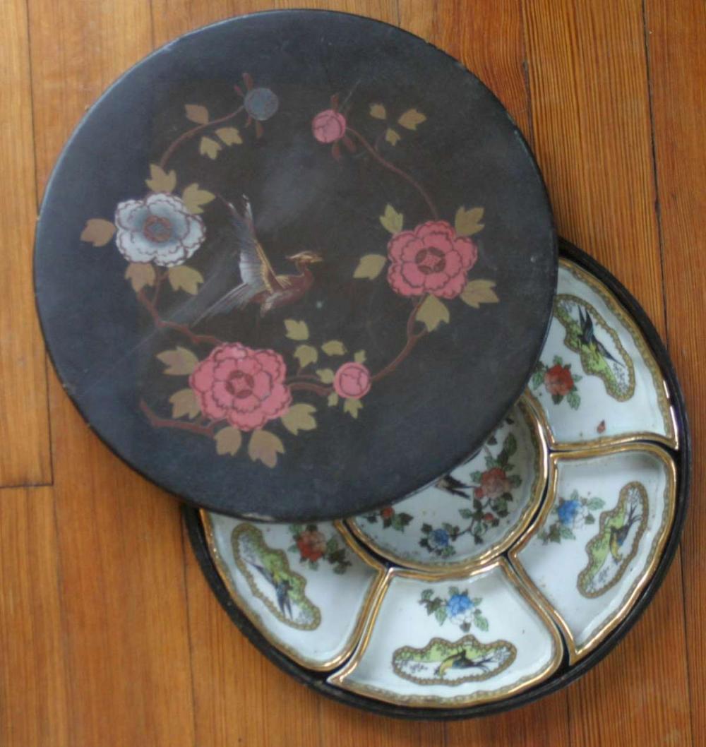 vintage Japanese porcelain dishes set in box