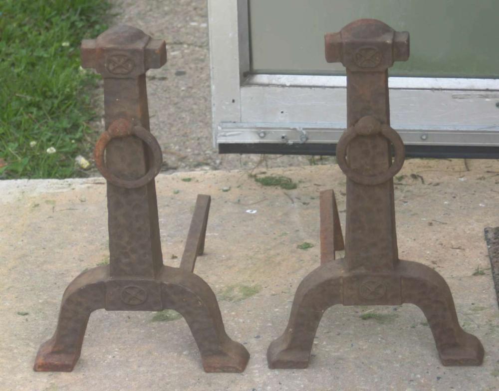 pair of antique iron andirons