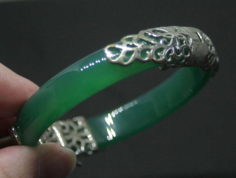 antique estate jewelry: silver and green Jade bracelet
