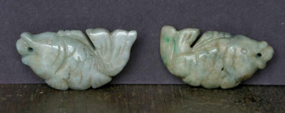 vintage estate jewelry: pair Asian Jade fish pendants
