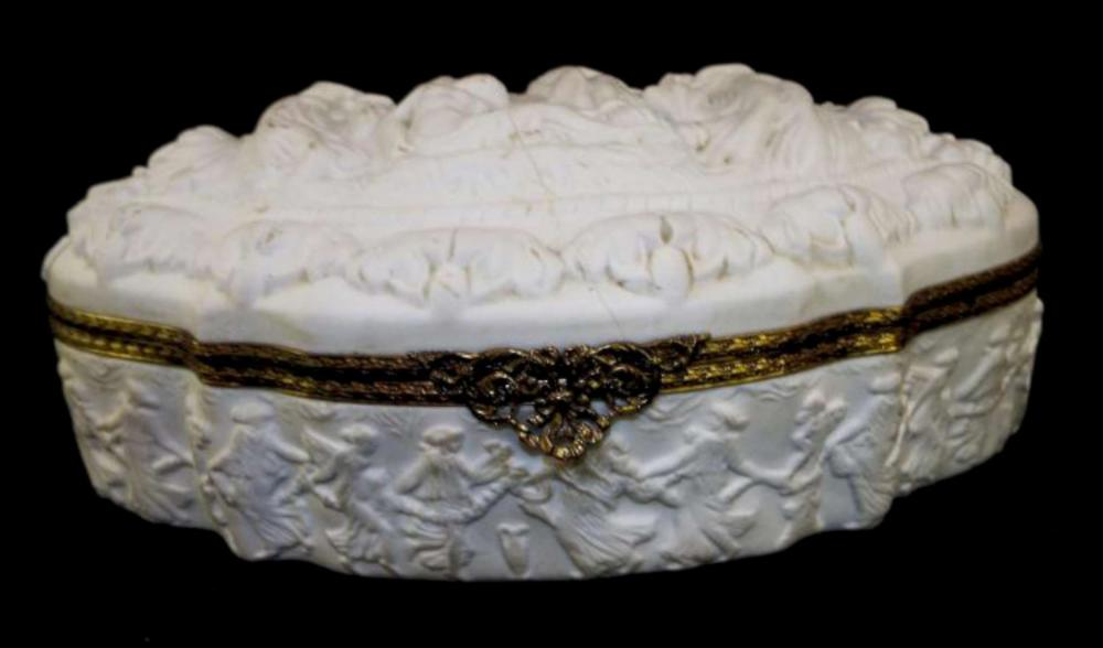 antique French bisque large dresser box