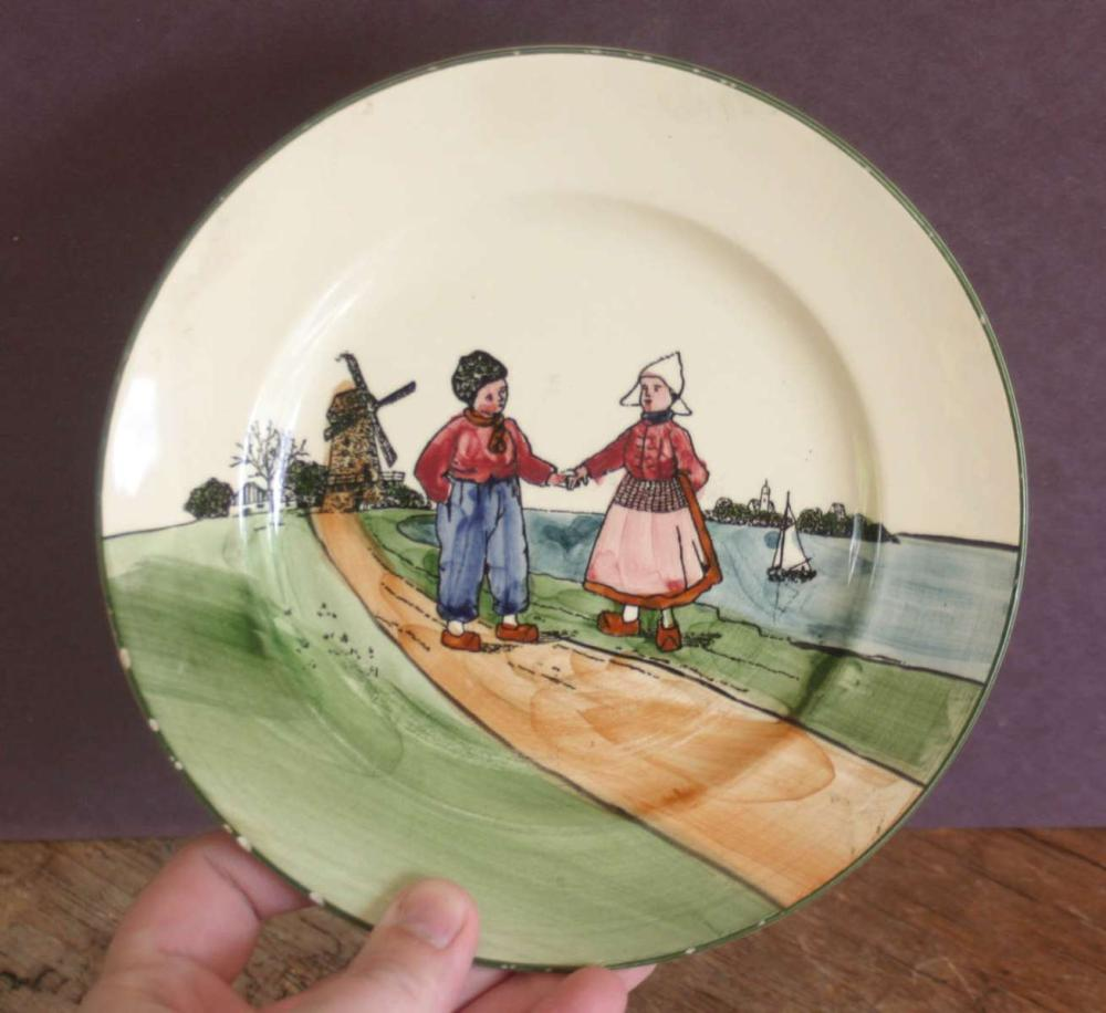 antique Dutch scene small porcelain plate