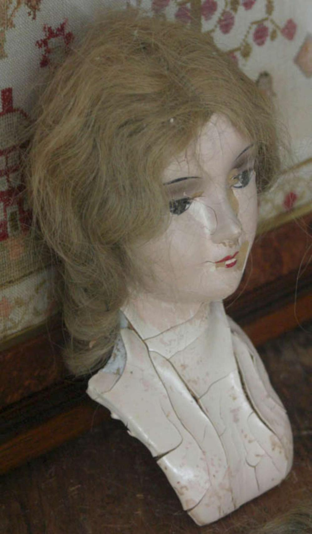 antique doll head with real human hair wig