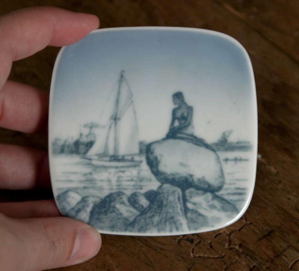 vintage Danish porcelain B and G plaque