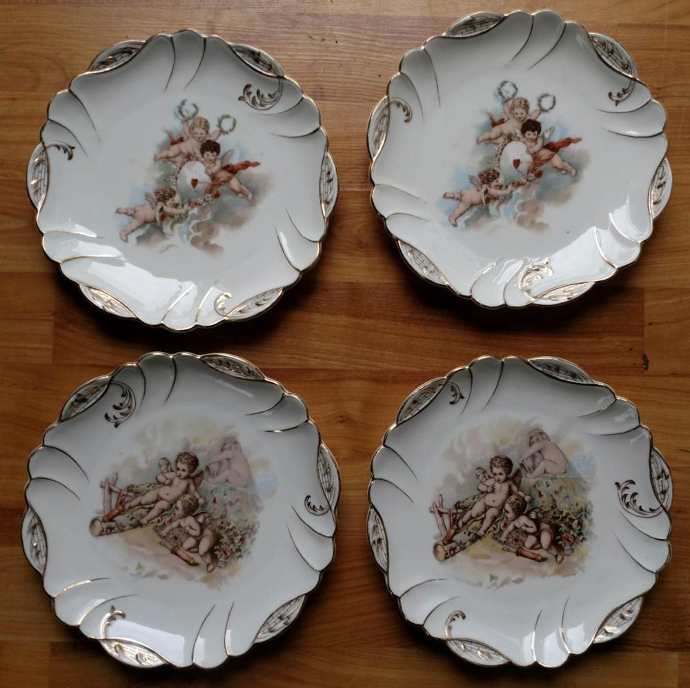 set of 4 antique porcelain Austrian plates