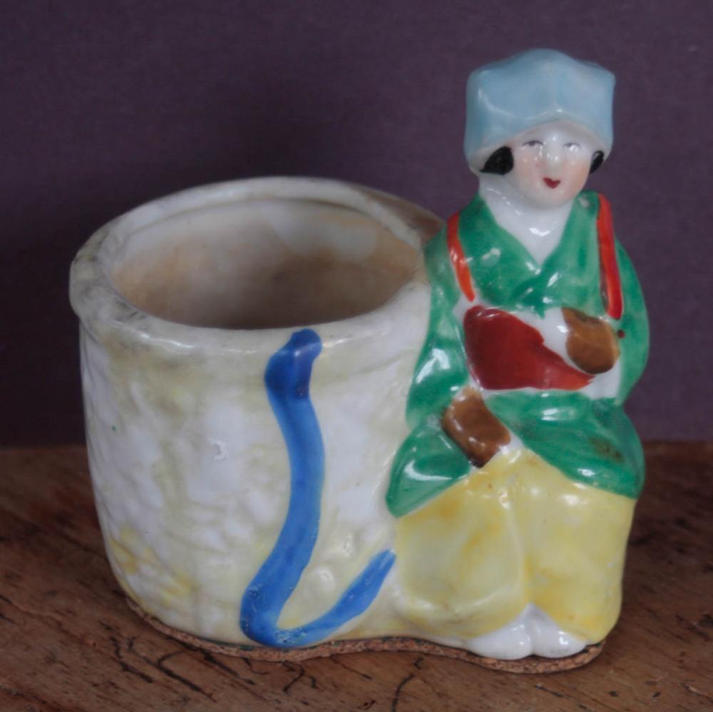 small antique porcelain figural planter