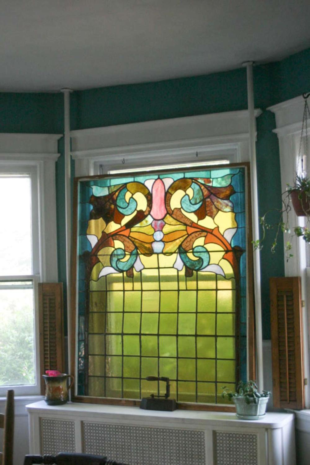 huge antique stained and leaded glass window panel