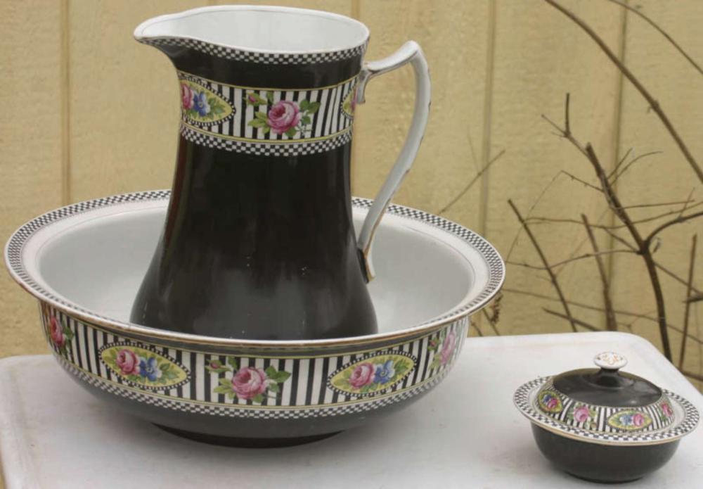 antique porcelain pitcher bowl and soap dish