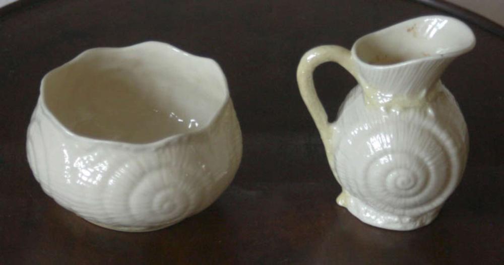 antique Belleek sugar and creamer set