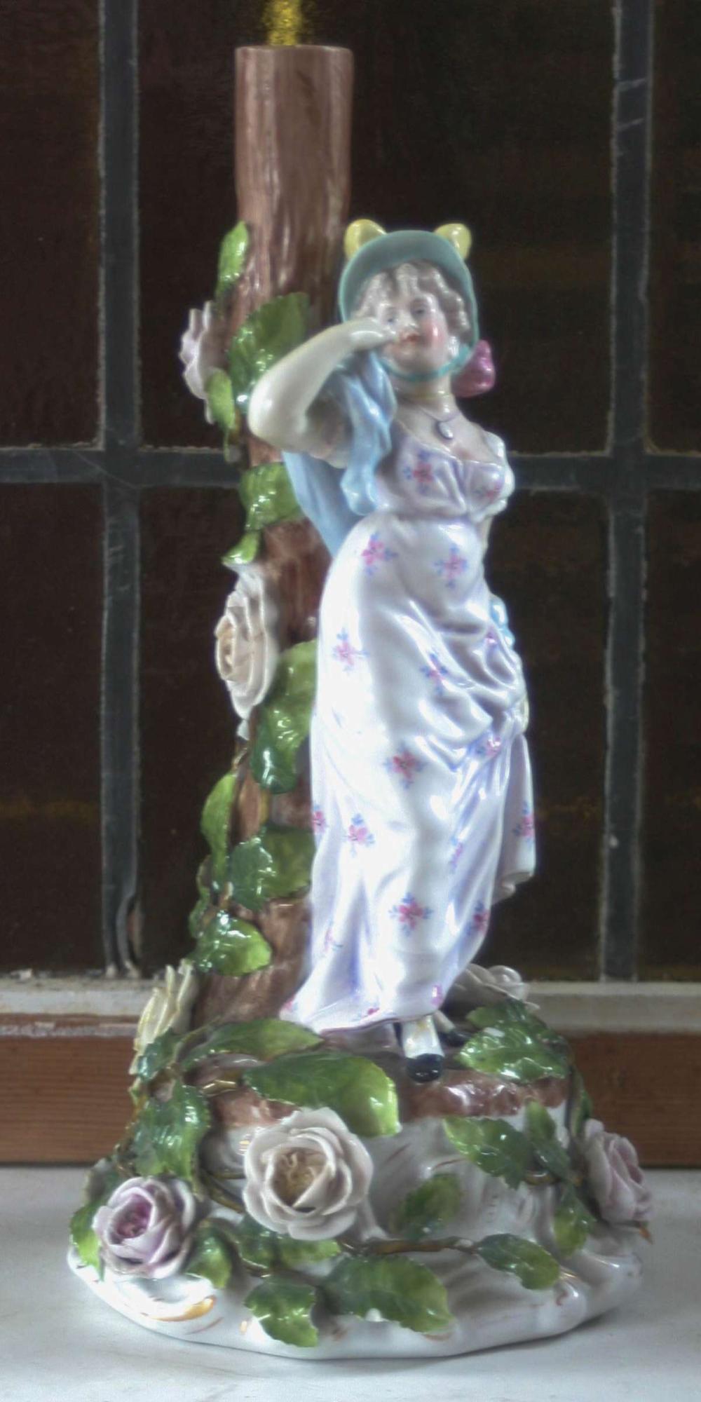 large antique porcelain candlestick