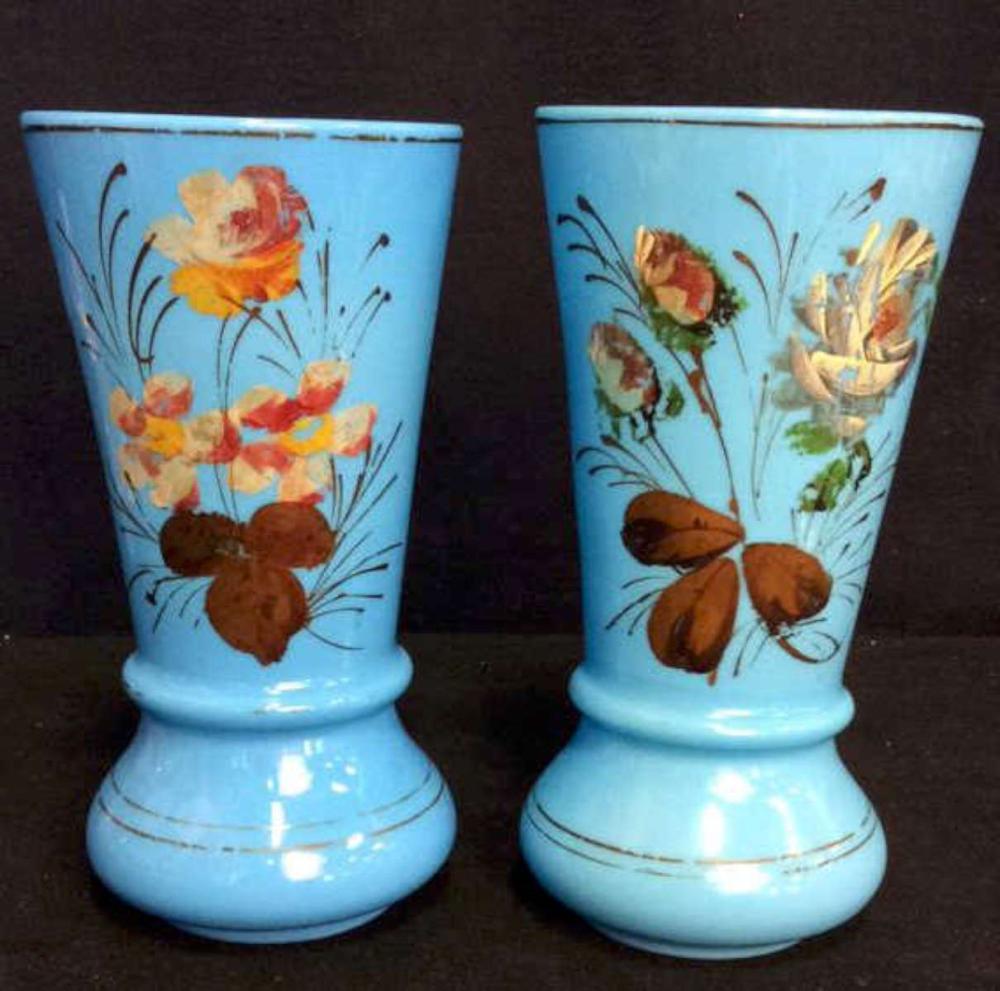 pair of antique English Bristol glass vases