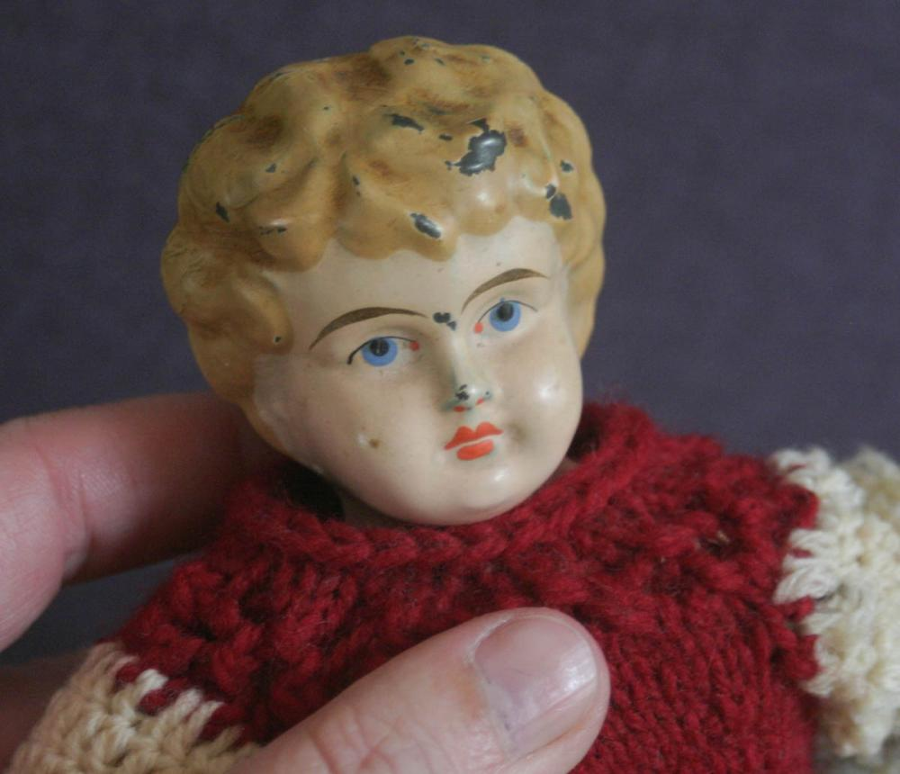 antique painted German tin head doll