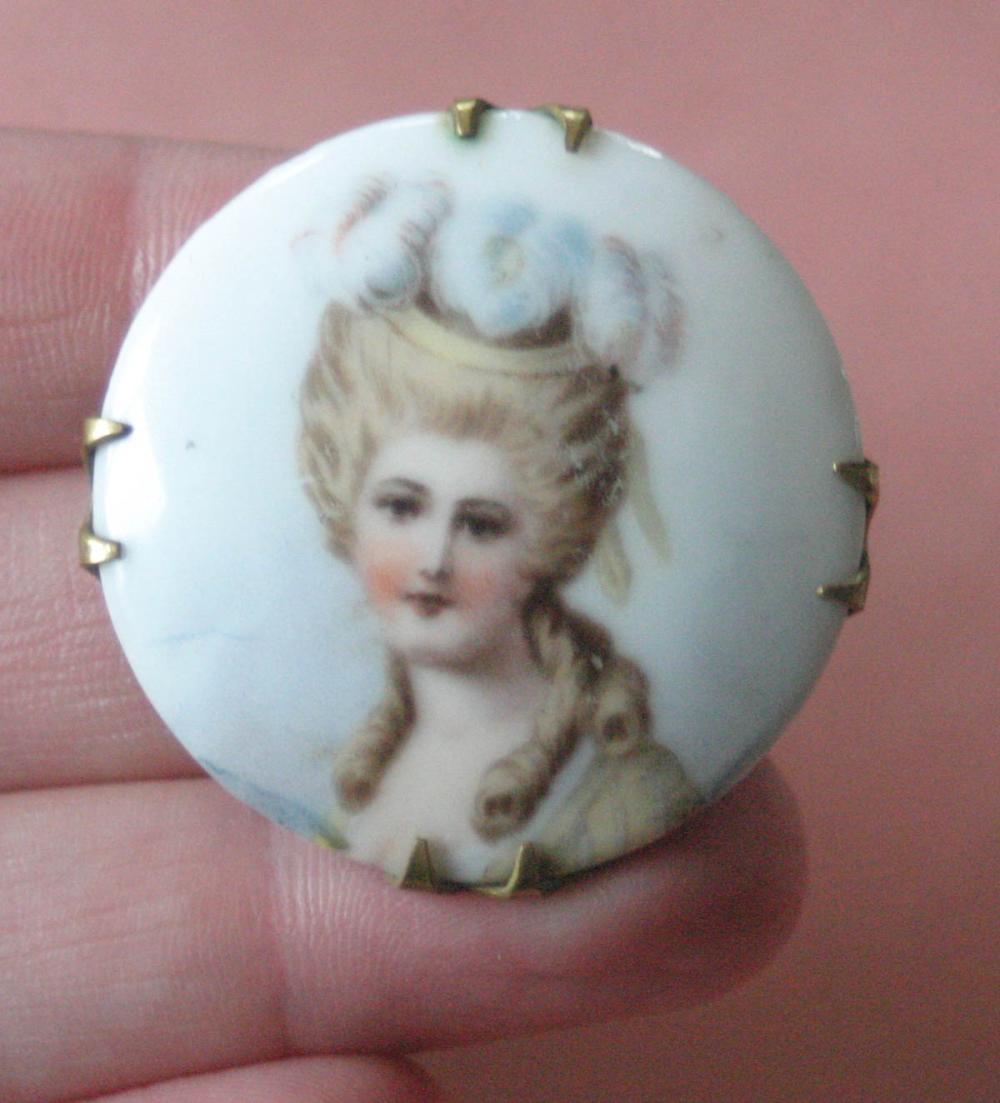 antique estate jewelry: portrait pin brooch