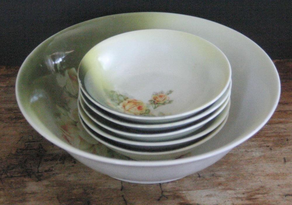 vintage or antique German porcelain serving dishes set