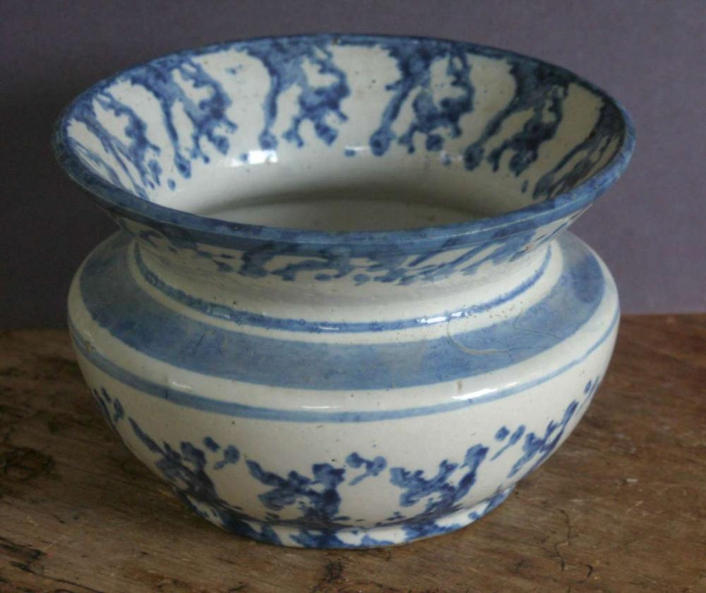 large antique spongeware or spatterware vessel