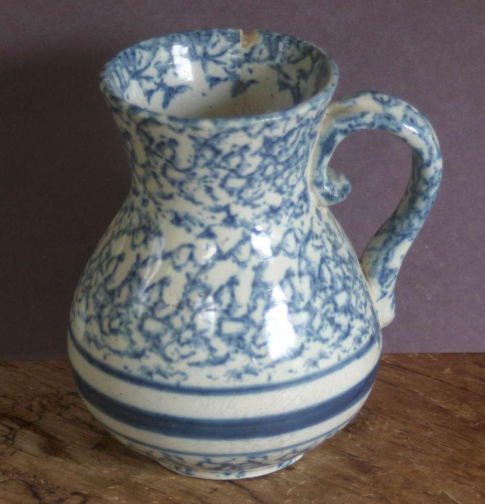 antique spongeware or spatterware pitcher