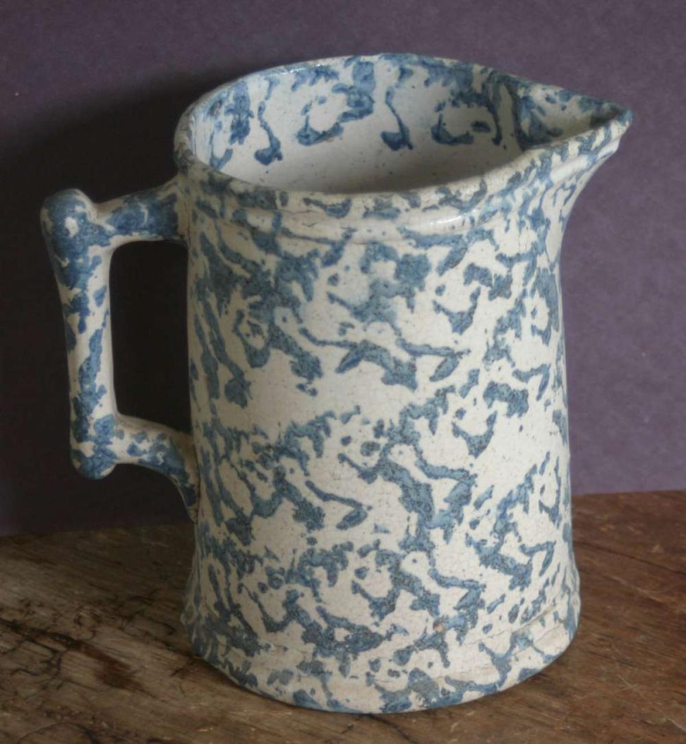 antique spatterware or spongeware pitcher